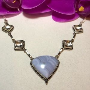 Jewelry - St.Silver.925 Blue Lace Agate And Topaz Necklace.
